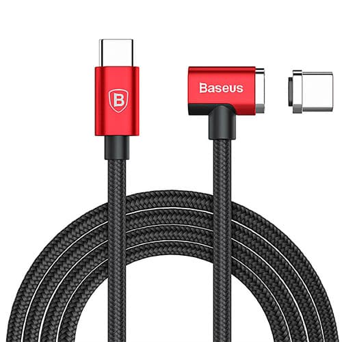Baseus Magnet Type-C cable (Side insert For Type-C) 1.5M Red+Black
