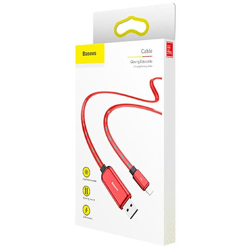 Baseus Glowing Data cable USB For Lightning Red