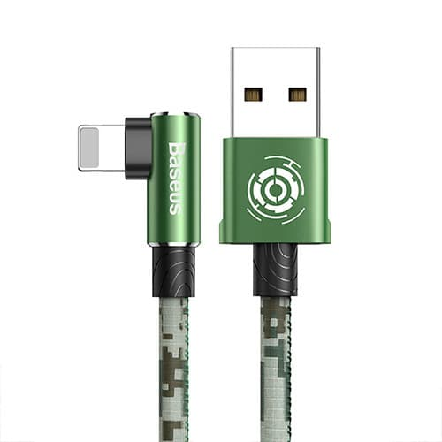 Baseus Camouflage Mobile Game Cable USB For iP 2.4A 1m Green