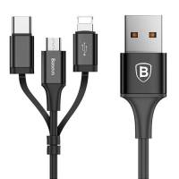 Baseus Excellent Three-in-one Cable USB For Micro/Lightning/Type-C 2A 1.2M Black