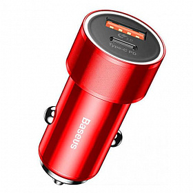 Baseus Small Screw Type-C PD+USB Quick Charge Car Charger 36W Red